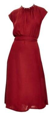 Sandro Conique High-Collar Tie Waist Dress