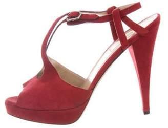 Valentino Suede Slingback Sandals Red Suede Slingback Sandals