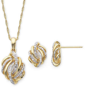 JCPenney FINE JEWELRY 1/10 CT. T.W. Diamond Love Knot Pendant Necklace & Earrings Boxed Set
