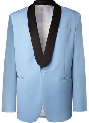 Calvin Klein Light-Blue Oversized Satin-Trimmed Wool Tuxedo Jacket