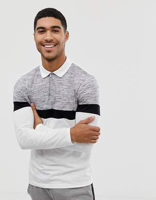 Asos Design DESIGN long sleeve polo shirt in slub fabric with contrast body  and sleeve panels 271fd3d032bf