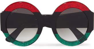 Gucci - Oversized Round-frame Glittered Acetate Sunglasses - Black $540 thestylecure.com