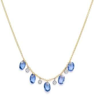 "Meira T 14K White & Yellow Gold Sapphire & Diamond Dangle Necklace, 18"""