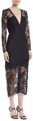 La Maison Talulah True Chemistry Long-Sleeve Lace Midi Dress