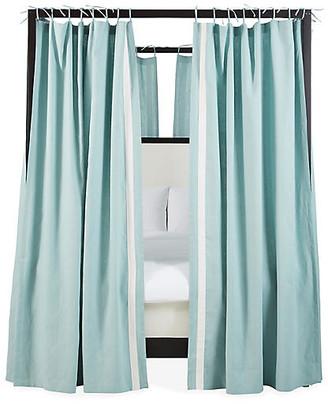 One Kings Lane Set of 8 Bridget Canopy Bed Panels - Washed Teal/Ivory