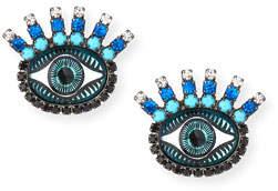 Elizabeth Cole Fern Evil Eye Stud Earrings, Blue
