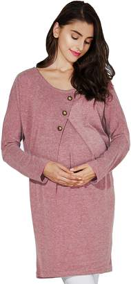Sweet Mommy Front button Dolman knit Maternity and Nursing Tunic PKF