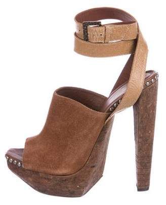Herve Leger Suede Platform Sandals