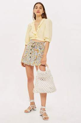 Topshop Petite Floral Tie Button Skirt