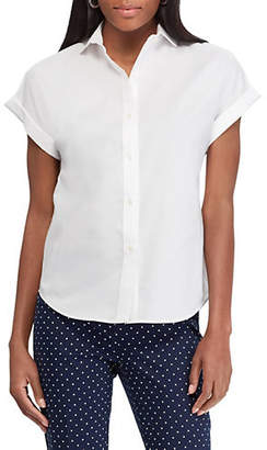 Chaps Short-Sleeve Foldover Cotton Button-Down Shirt