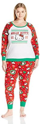 Hello Kitty Women's Plus Size Ugly Holiday Pajama Set $48 thestylecure.com