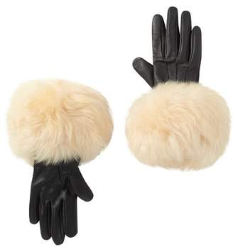 UGG Genuine Dyed Shearling Leather Trimmed Smart Gloves