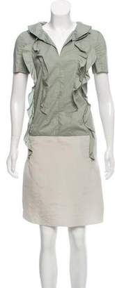 Marni Ruffle-Trimmed Short Sleeve Knee-Length Dress