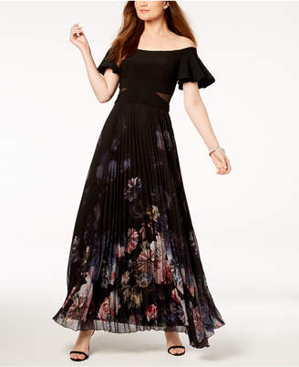 Xscape Evenings Off-The-Shoulder Mesh-Inset Gown