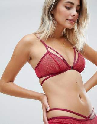Lepel strappy unlined lace bralette in red