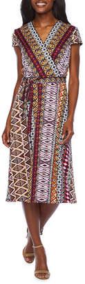 Studio 1 Short Sleeve Puff Print Wrap Dress