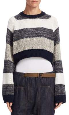 Linen and Silk Cropped Striped Sweater