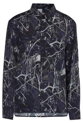 Lanvin Forest Camouflage Print Oversized Shirt - Mens - Navy