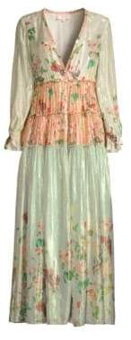 Rococo Sand Tiered Iridescent Peasant Long Dress