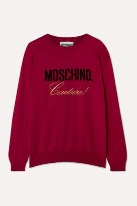 Moschino Embroidered Intarsia Cotton Sweater