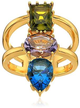 Nicole Miller Gypset Mixed Three Stone Gold Ring