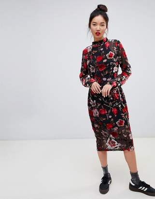 Daisy Street high neck floral midi dress in velvet