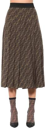 Fendi Logo Printed Crepe De Chine Skirt