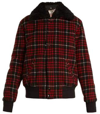 Saint Laurent Checked Wool Blend Bomber Jacket - Womens - Black Red