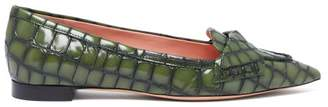 Rochas Point Toe Crocodile Effect Leather Flats - Womens - Dark Green