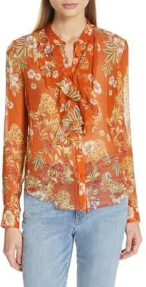 Nicholas Floral Print Ruffle Neck Silk Shirt