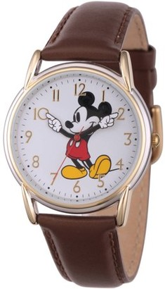 Disney Disney, Classic Mickey Mouse Women's Two-Tone Cardiff Alloy Watch, Brown Leather Strap