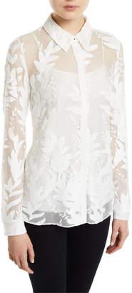 Elie Tahari Gwen Button-Front Leaf Embroidered Silk Blouse