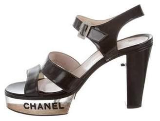 Chanel Logo Platform Sandals