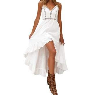 5dfcc90e39 Fanteecy Women Summer Lace Beach Dresss Sexy V Neck Bohemian Spaghetti  Strap High Low Hem Party