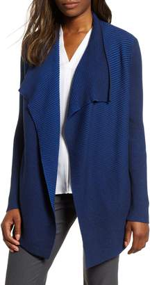 Chaus Contrast Ribbed Waterfall Cotton Cardigan