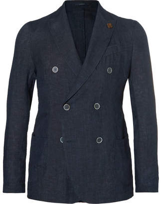 Lardini Navy Slim-Fit Unstructured Double-Breasted Linen Blazer