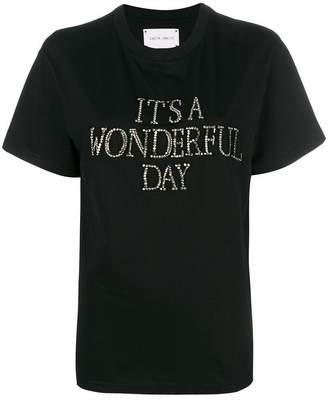 Alberta Ferretti slogan embroidered T-shirt