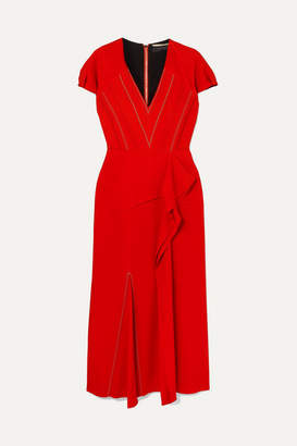 Roland Mouret Bates Ruffled Crepe Midi Dress - Red