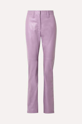 Miu Miu Leather Straight-leg Pants - Lilac