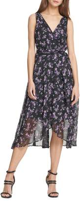 DKNY Floral Chiffon Faux Wrap Midi Dress