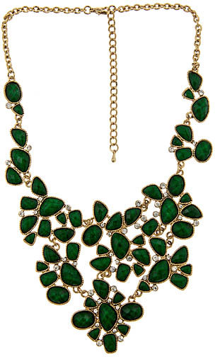 Blu Bijoux Emerald Facet Bib Necklace