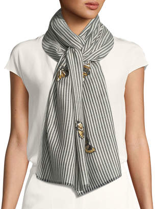 Janavi K Don't Bug Me Striped Embellished Scarf