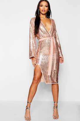 boohoo Sequin Kimono Sleeve Midi Dress