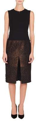 Akris Sleeveless Solid-Bodice Metallic-Eyelash Skirt A-Line Dress w/ Inset