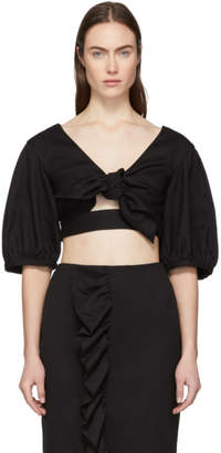 Edit Black Cropped Bow Front Blouse