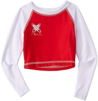 Azul Swimwear Azul Girls' Bay Watch Long Sleeve Red & White Rashguard