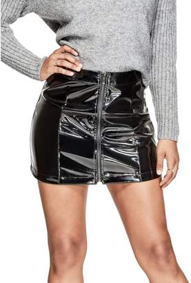 GUESS Women's Dylan Patent Faux-Leather Skirt