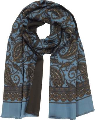 Forzieri Modal & Silk Oversized Paisley Print Men's Fringed Scarf