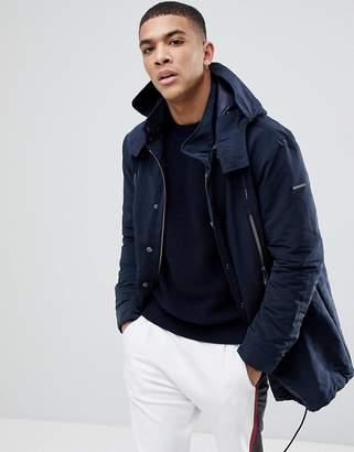 Armani Exchange Hooded Parka Jacket In Navy