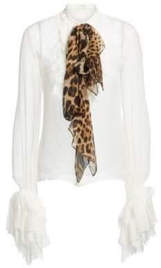Saint Laurent Women's Leopard Bow Silk Blouse - White - Size 38 (6)